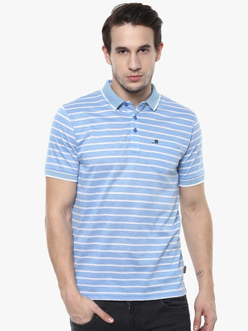 Crimsoune Club Men Blue Striped Polo Collar T-shirt