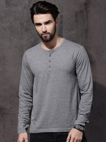 Roadster Men Grey Melange Solid Henley Neck T-shirt
