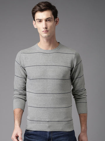 HERE&NOW Men Grey Striped Pullover
