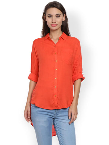 Bombay High Women Orange Slim Fit Solid Casual Shirt