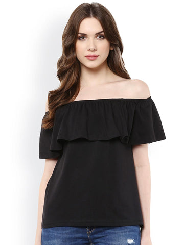 Harpa Women Black Solid Off-Shoulder Layered Top