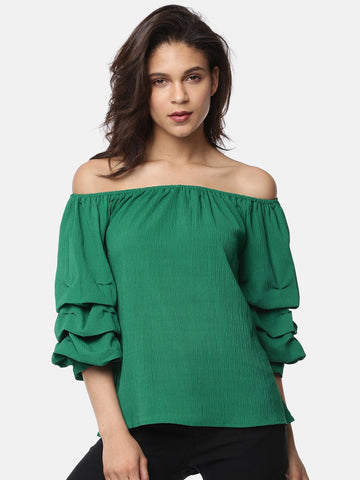 Ginger by Lifestyle Women Green Solid Bardot Top