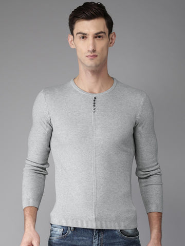 Moda Rapido Men Grey Self-Design Pullover Sweater