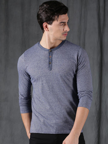 WROGN Men Blue Striped Henley Neck T-shirt