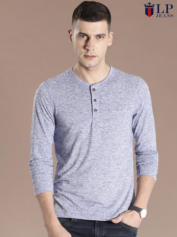 Louis Philippe Blue Melange Henley T-shirt