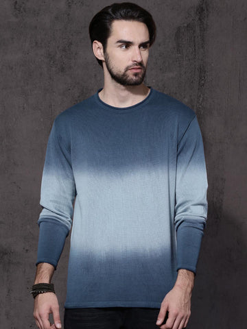 Roadster Men Blue Solid Ombre-Dyed Pullover Sweater