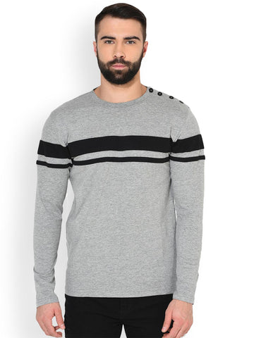 GRITSTONES Men Grey Melange & Black Striped Round Neck T-shirt