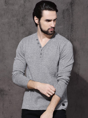 Roadster Men Grey Self Design Pullover