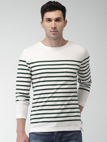 Scotch & Soda Men Off-White & Green Striped Round Neck T-shirt