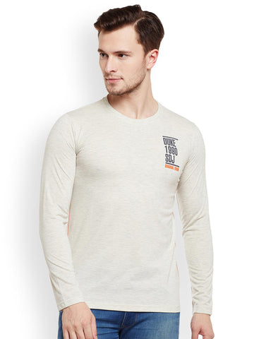 Duke Men Cream-Coloured Solid Round Neck T-shirt