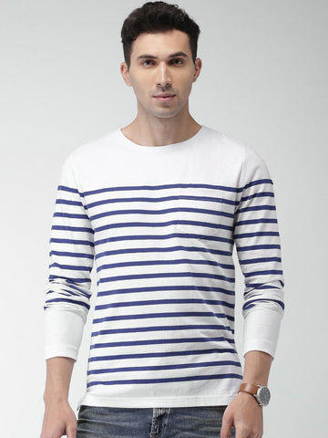Scotch & Soda Men White & Blue Striped Round Neck T-shirt