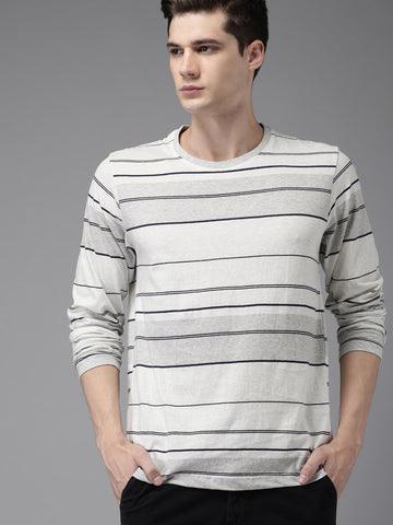HERE&NOW Men Grey Striped Round Neck T-shirt