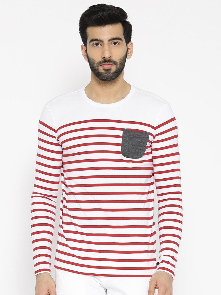 db1d6c2f08 United Colors of Benetton Men White & Red Striped Round Neck T-shirt ...
