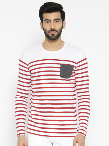 United Colors of Benetton Men White & Red Striped Round Neck T-shirt
