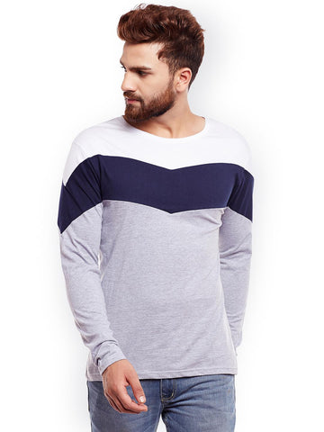 The Dry State Men Grey Colourblocked Round Neck T-shirt