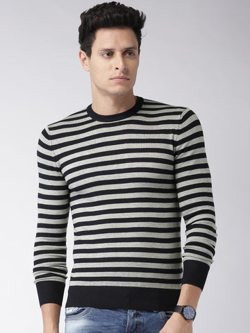 ALCOTT Men Navy Striped Sweater