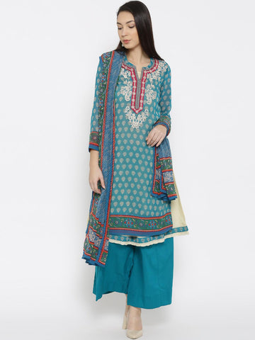 Biba Teal Blue Printed Kurta with Palazzo Trousers & Dupatta