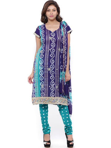 SOUNDARYA Blue & Green Bandhani Print Unstitched Dress Material