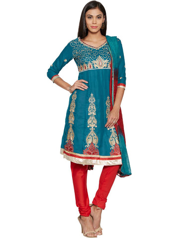 Aaina Teal Blue & Red Embroidered Semi-Stitched Dress Material