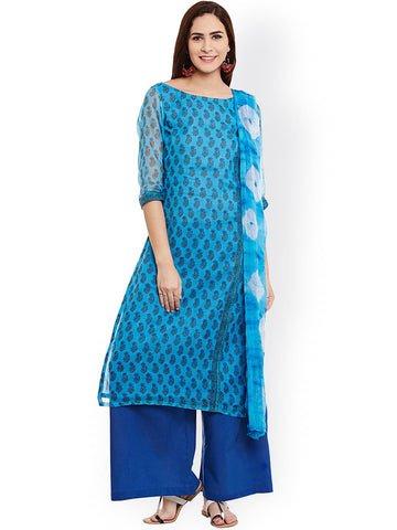 pinkshink Blue Hand Block Print Kota Doria Cotton Unstitched Dress Material
