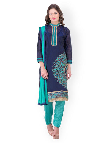 Blissta Navy & Sea Green Chanderi Unstitched Dress Material