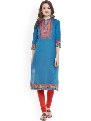 Indi Dori Women Blue Straight Kurta