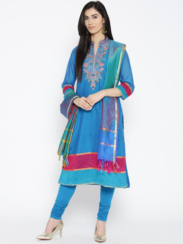 Biba Women Blue Solid Kurta with Churidar & Dupatta