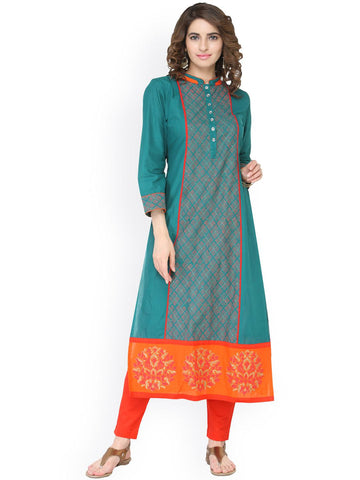Tulsattva Women Teal Green Printed Straight Kurta