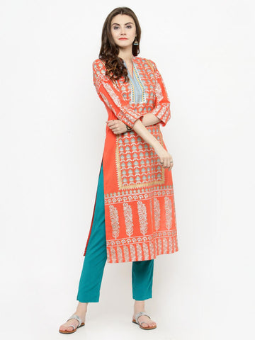 Varanga Women Coral & Teal Printed Kurta with Trousers