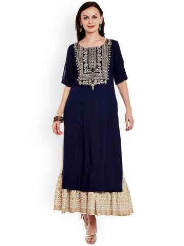 Varanga Women Navy Blue & Off-White Embroidered Kurta with Skirt