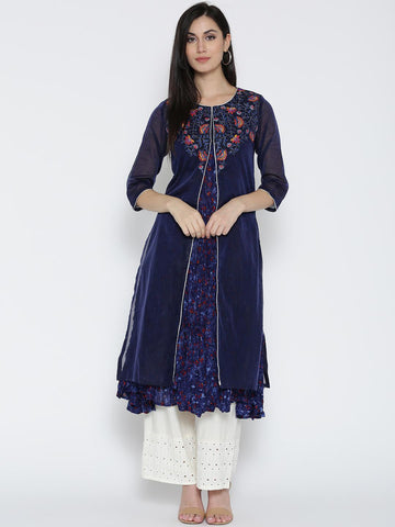 Biba Women Navy Blue Printed Layered A-Line Kurta
