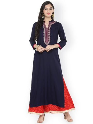 Varanga Women Navy Blue & Pink Solid Kurta with Palazzos