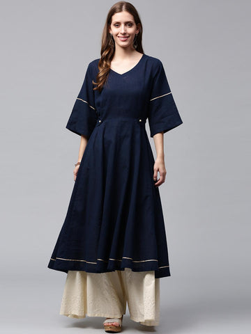 Nayo Women Navy Blue Solid Anarkali Kurta