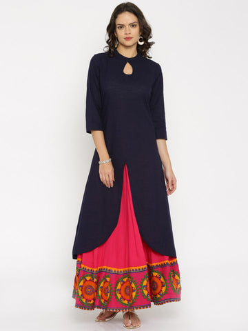Anouk Women Navy Blue Solid A-Line Kurta