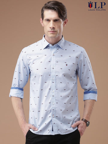 Louis Philippe Sport Men Blue & White Printed Slim Fit Casual Shirt