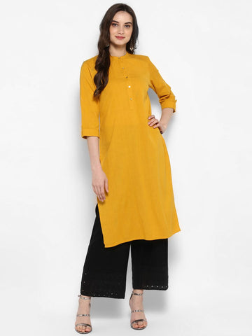 Juniper Women Mustard Solid Straight Kurta