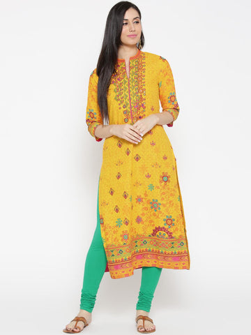 Biba Women Yellow Printed Straight Kurta