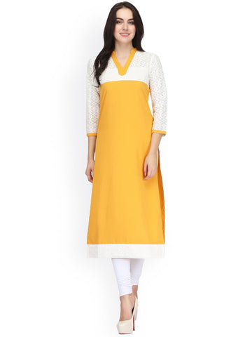 Ojjasvi Women Yellow & White Straight Kurta