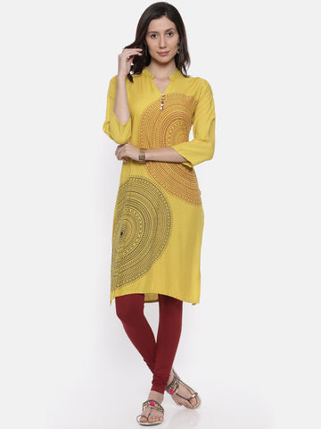 Soch Women Lime Green Printed Straight Kurta
