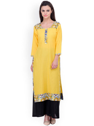 aaika Yellow Printed Kurta
