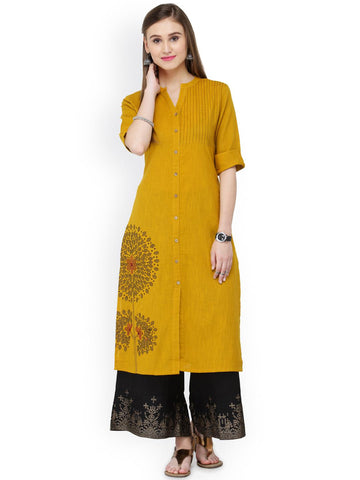 Varanga Women Mustard Yellow & Black Solid Kurta with Palazzos
