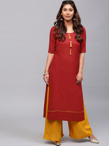 AKS Women Rust Red Solid Straight Kurta with Tassels