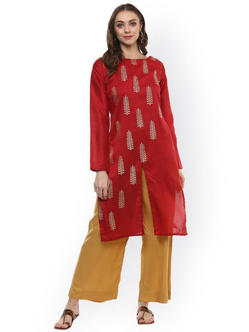 ZIYAA Women Red Printed Straight Kurta