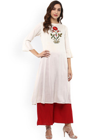 Bhama Couture Women White Embroidered A-Line Kurta