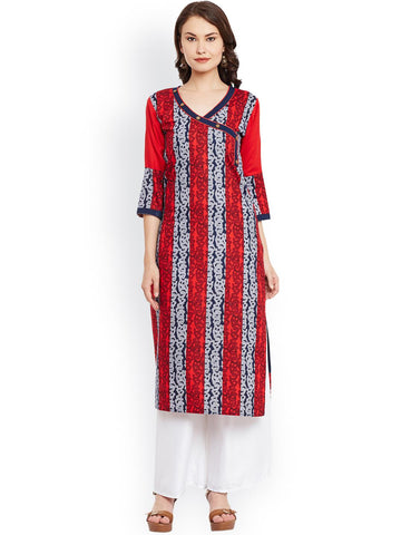 AgrohA Women Red & Navy Printed Angrakha Kurta