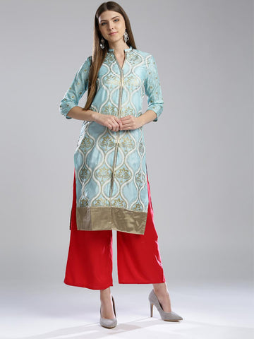 W Women Blue Printed Straight Kurta