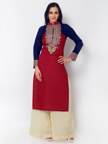 Admyrin Women Red & Blue Embroidered Straight Kurta