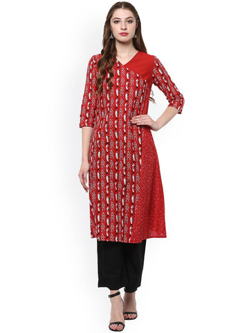 Evam Women Red Printed A-Line Kurta