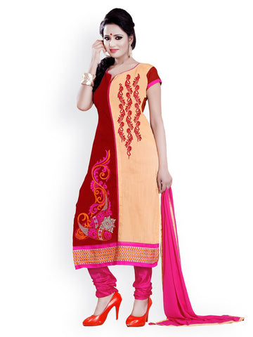 Florence Red & Beige Georgette Semi-Stitched Dress Material