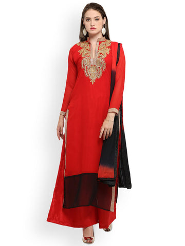 Ishin Red & Black Poly Georgette Unstitched Dress Material